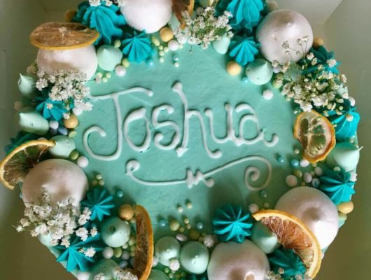 An aerial view of a Christening cake